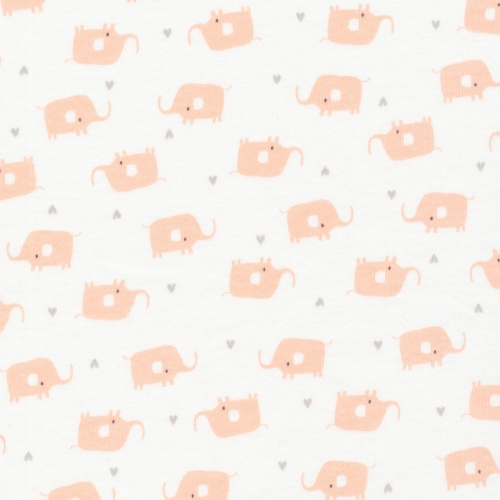 CLOUD9 Bio-Interlock Jersey Little Elephants White Tout Petit