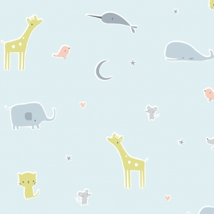 CLOUD9 Bio-Baumwoll Popeline Animal Parade Blue  Tout Petit - Sheeting