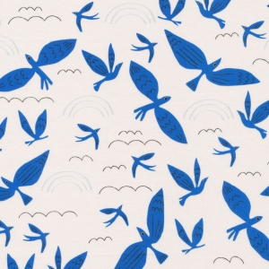 CLOUD9 Bio-Baumwoll Popeline Blue Birds Fly No Place Like Home