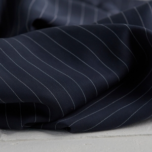 RESTSTÜCK 37CM-MEET MILK Tencel Pin Stripe Twill  Navy